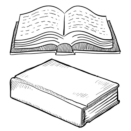 a literary sketch: Doodle style book or library vector illustration