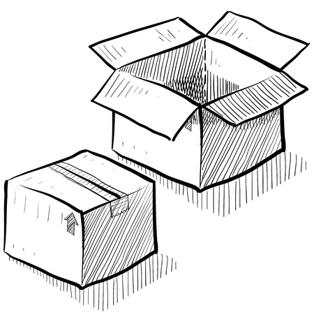 ship parcel: Doodle style box, package, or shipping vector illustration Stock Photo