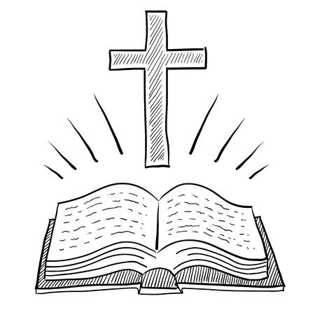 Doodle stijl bijbel of een boek met een christelijk kruis vector illustratie Stockfoto