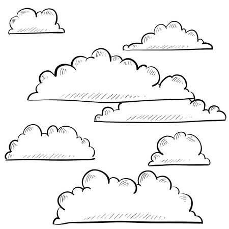 precipitation: Doodle style clouds or weather vector illustration