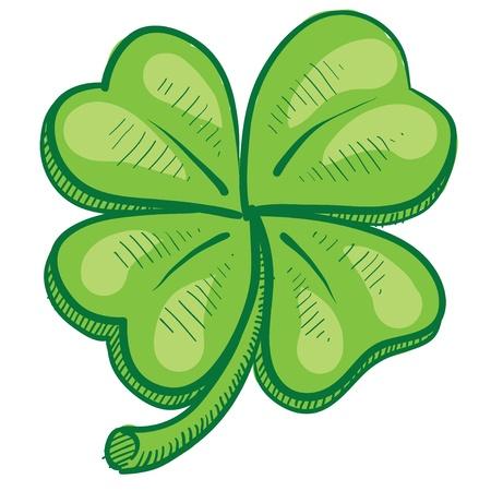 leaf: Doodle style four leaf clover, luck, or St. Patricks Day vector illustration