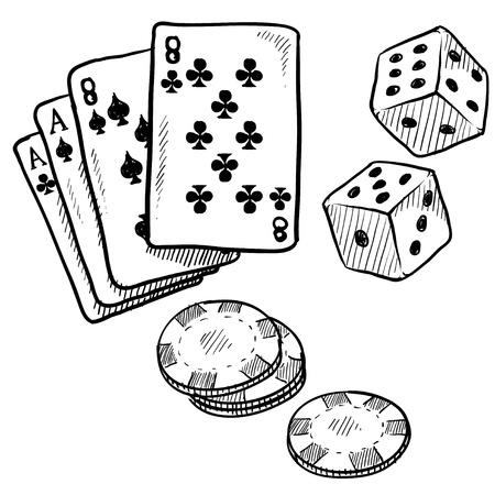 ace of clubs: Doodle style gambling vector illustration with playing cards, dice, and poker chips