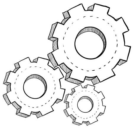 revolution: Doodle style gears, cogs, or settings vector illustration Stock Photo
