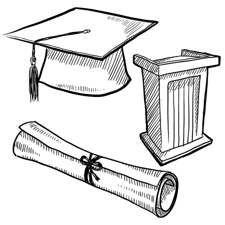 Doodle style graduation or school vector illustration with cap, podium, and diploma scroll illustration