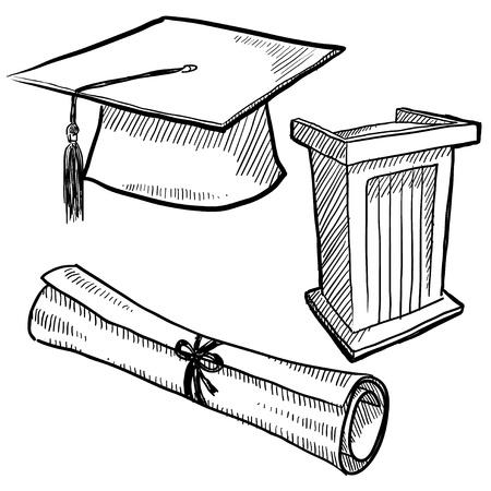 toga y birrete: La graduaci�n de estilo Doodle o ilustraci�n vectorial de la escuela con la tapa, podio, y un diploma desplazarse