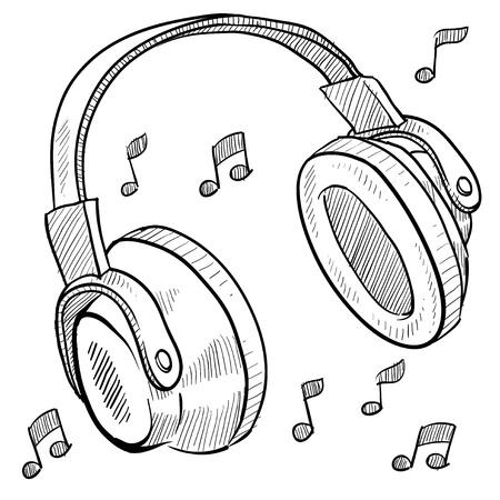 rapero: Los auriculares de estilo Doodle ilustraci�n vectorial con notas musicales