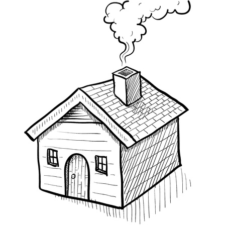 Doodle style house vector illustration with smoking coming from chimney