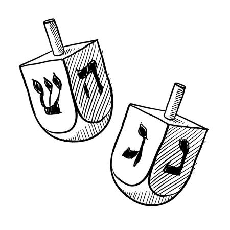 Doodle style Jewish dreidel or draydl vector illustration
