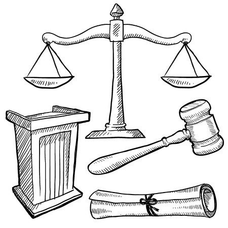 Doodle style justice or law vector illustration with podium, gavel, and scales of justice illustration