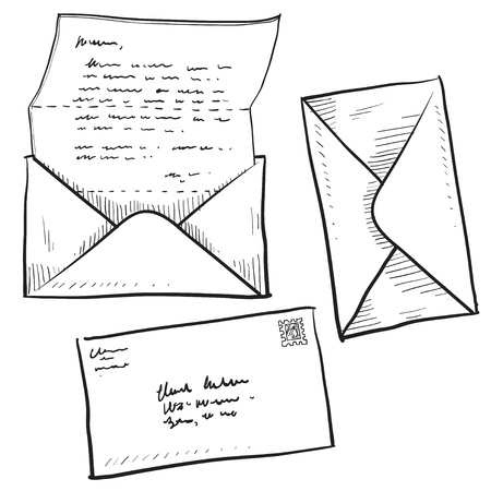 Doodle style mail, contact, message, or envelope vector illustration Stock Illustration - 11575043