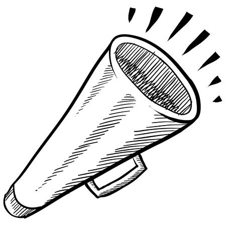 megafono: Meg�fono estilo Doodle o anuncio ilustraci�n vectorial
