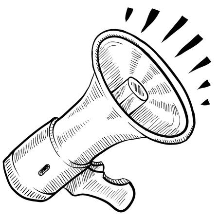 megafono: Meg�fono estilo Doodle el�ctrica o anuncio de ilustraci�n vectorial