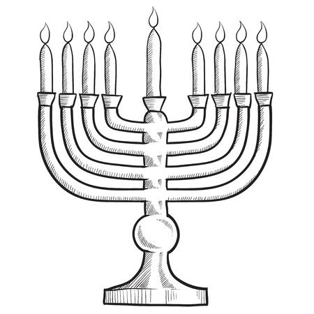 Doodle style menorah Jewish religion symbol vector illustration Stock Illustration - 11575152