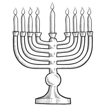jewish: Doodle style menorah Jewish religion symbol vector illustration Stock Photo