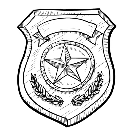badge shield: Doodle style police or firefighters badge vector illustration with blank space for text Stock Photo