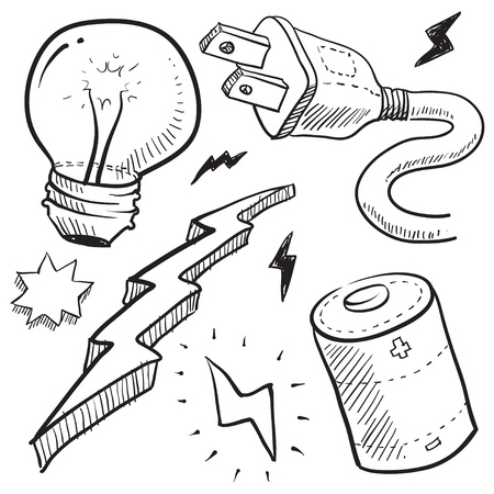 plug electric: Doodle style electricity or power vector illustration with cord and plug, light bulb, battery, and lightning bolt Stock Photo