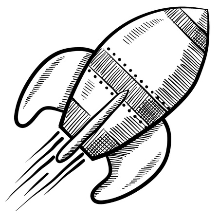 Doodle style retro rocket or spaceship vector illustration illustration