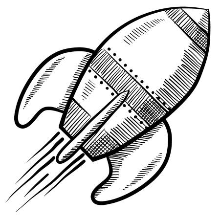 cohetes: Estilo retro Doodle cohete o nave espacial ilustraci�n vectorial Foto de archivo