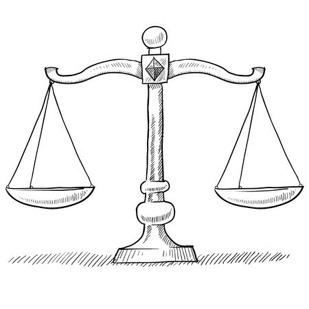 trial balance: Doodle escalas de estilo de ilustraci�n vectorial de justicia