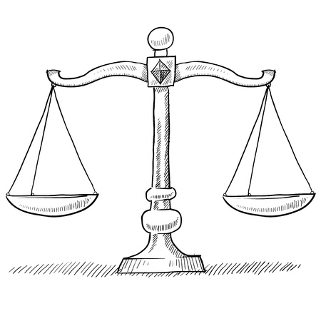 trial balance: Doodle style scales of justice vector illustration