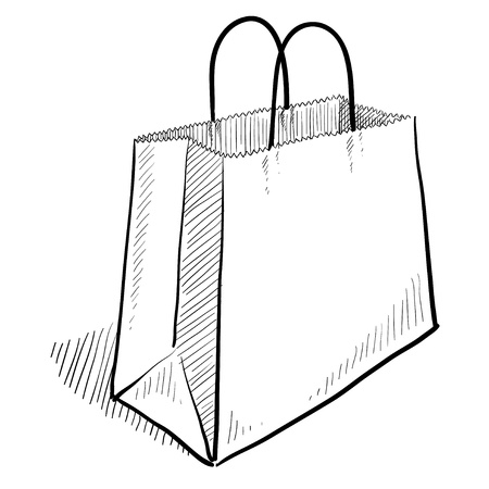 a bag with gifts: Doodle style shopping bag illustration
