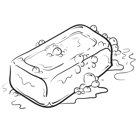 hygiene: Doodle style soap with bubbles bathroom vector illustration