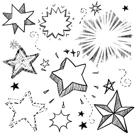Doodle stijl ster, ontploffing, en vuurwerk vector illustratie. Kan ook gebruikt worden als stickers of badges.