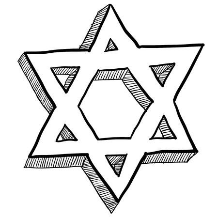 estrella de david: Estilo de la estrella de David judía Doodle religiosas ilustración vectorial símbolo