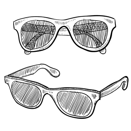 fashion sunglasses: Doodle style sunglasses vector illustration