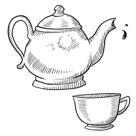 Doodle style coffee or tea vector illustration with coffeepot, teapot, and cup Imagens