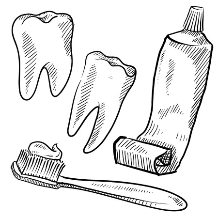 Doodle style dentist vector illustration with teeth, toothpaste, and toothbrush illustration
