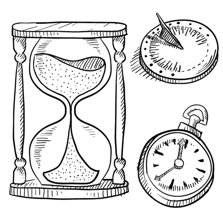 sundial: Doodle style hourglass, sundial, and click vector illustration