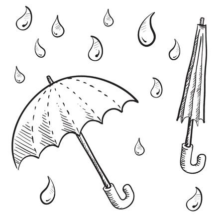 Doodle stijl paraplu en regen druppel vector illustraties Stockfoto