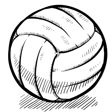 Doodle style volleyball sports vector illustration Banco de Imagens