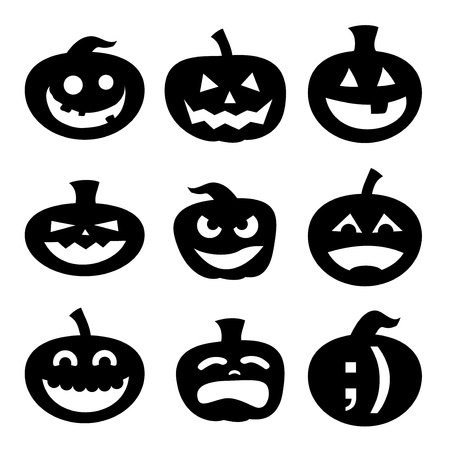 carved pumpkin: Halloween decoration Jack-o-Lantern silhouette set. Carved pumpkin designs with different facial expressions, from silly to happy to scary.