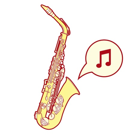 Detailed, stylized vector illustration of a saxophone, a brass musical instrument common in jazz bands and orchestras. illustration