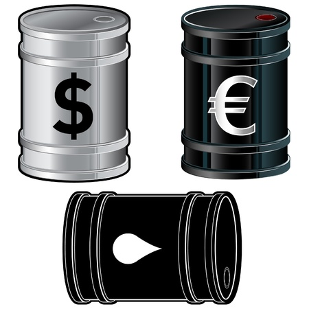 A detailed vector set of shiny silver oil barrels with currency and other symbols. photo