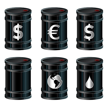 A detailed vector set of glossy black oil barrels with currency and other symbols. photo