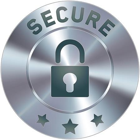 스테인레스 스틸 벡터 보안 아이콘이나 버튼을 누릅니다. 전자 상거래 쇼핑 카트 과정에서 배지로, 또는 독립의 상징으로, 웹 사이트에 사용하기에 적