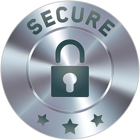 secure: Stainless steel vector secure icon or button. Suitable for use on websites, as a badge in the e-commerce cart process, or as a standalone symbol.