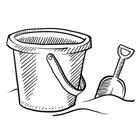 Doodle style childrens beach sand castle bucket and shovel in vector format