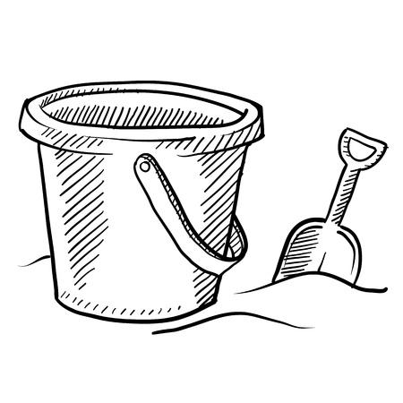 seau d eau: Les enfants de style Doodle du godet château plage de sable et une pelle dans un format vectoriel