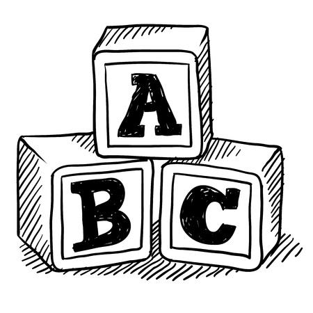 スタイル ブロック玩具ベクトル形式でそれらのアルファベットでの落書き
