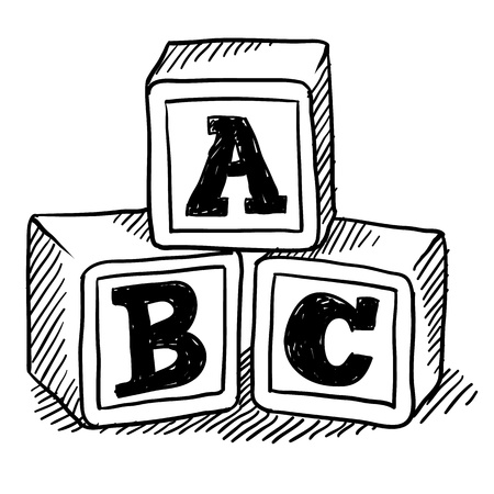 Doodle style childrens block toys with alphabet on them in vector format photo