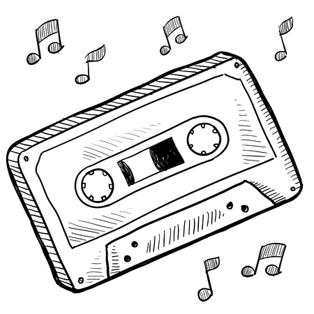 Doodle style cassette tape vector illustration illustration