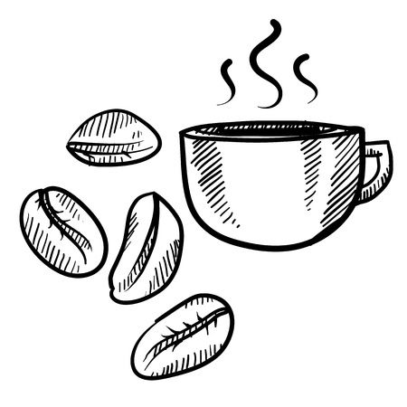 coffee beans: Doodle style coffee bean with cup vector illustration Stock Photo