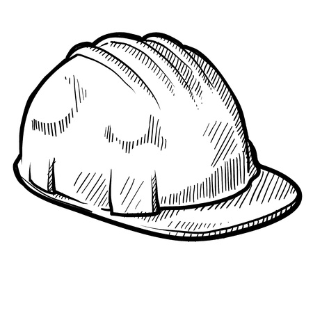 Doodle style construction worker safety hardhat in vector format photo