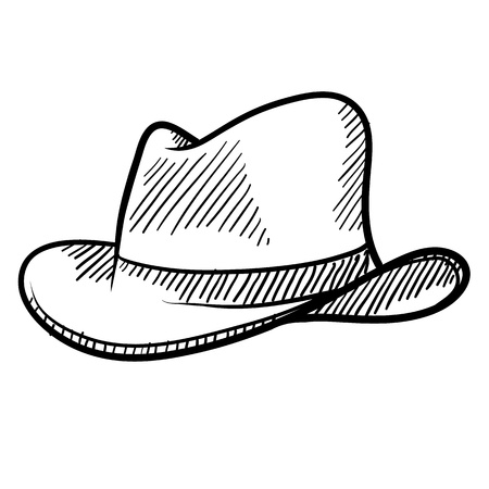 accessories horse: Doodle style cowboy hat or fedora in vector format