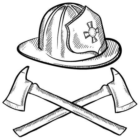 Doodle stijl brandweerman de helm en de assen in vector-formaat Stockfoto