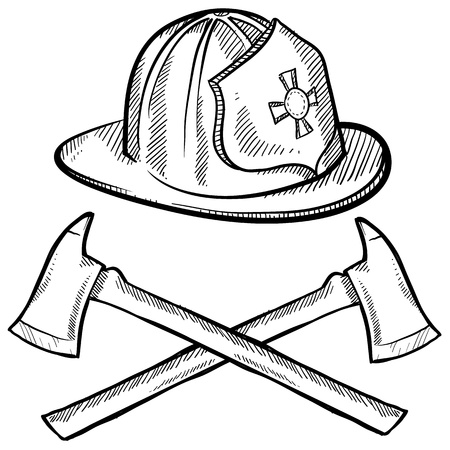 departments: Doodle style firefighters helmet and axes in vector format